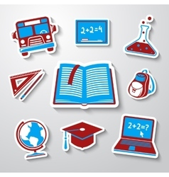 School education sticker icons set with - globe vector image vector image