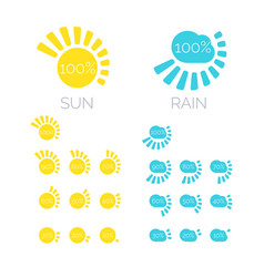 Set of icons of sun and rain in vector
