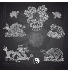 Set with feng shui motives vector