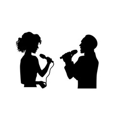 silhouettes of singing man woman half length vector image vector image