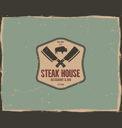 steak house logo design bar and grill logotype vector image vector image