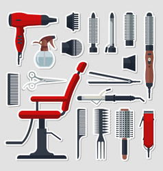 sticker set of hairdresser objects in flat style vector image vector image