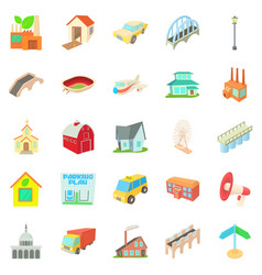 Urban transport icons set cartoon style vector
