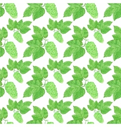 Watercolor seamless pattern with hops on the white vector
