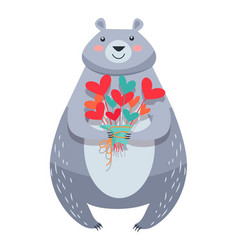 white bear with bouquet of fowers isolated vector image