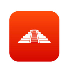 Ziggurat in chichen itza icon digital red vector