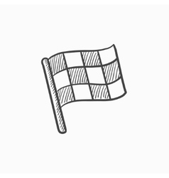Checkered flag sketch icon vector