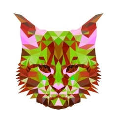 Low poly abstract portrait of a motley cat vector