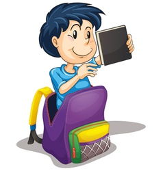 a boy in the school bag vector image