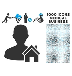 Home user icon with 1000 medical business vector