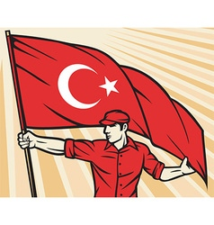 Worker Holding a Turkey Flag vector image