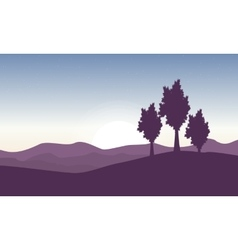 Beautiful landscape with tree on hill vector