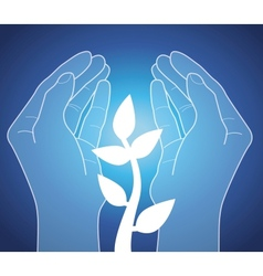 Human hands holding plant vector