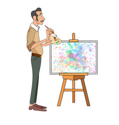 Portrait of male painter artist and mustache vector