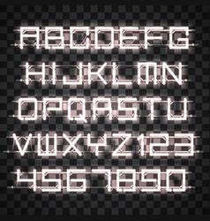Glowing white neon alphabet vector