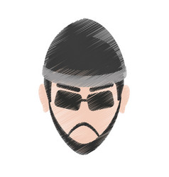 Suspicious looking man criminal icon image vector