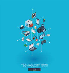 Technology integrated 3d web icons digital vector