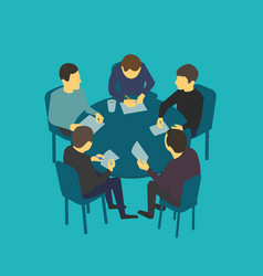 Small company table talks team business people vector