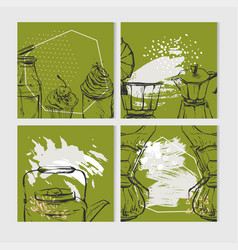 set of eco friendly food labels on the vector image