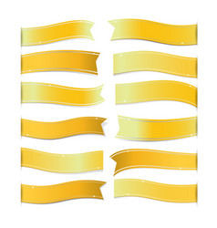 Gold ribbons on white background vector