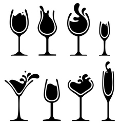 silhouette of wine glass with splash vector image