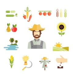 Farm icons for cultivating crops vector image