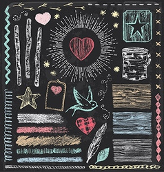Hand drawn vintage faux bois chalk elements set vector