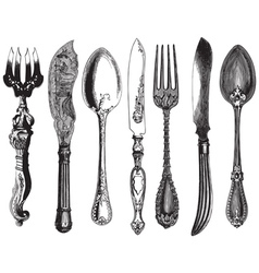 Vintage utensils vector image