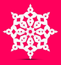 Origami paper cut star - ornament on retro pink vector
