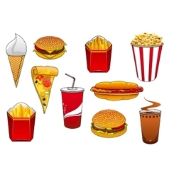 Fast food with meal and drinks vector