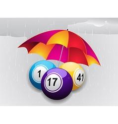 Winter bingo balls under umbrella vector image