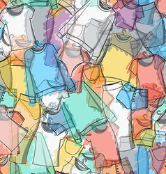 Seamless pattern of colorful clothes for stylish vector