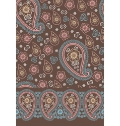Cute paisley seamless pattern and border set vector