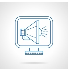 Blue flat line megaphone on monitor icon vector