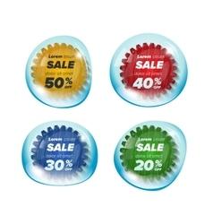 Summer sale circle stickers in a bubble vector