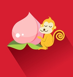 Peach and monkey for chinese new year vector