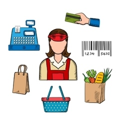 Seller profession and shopping icons vector image
