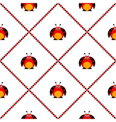 Pattern cute comic ladybugs vector