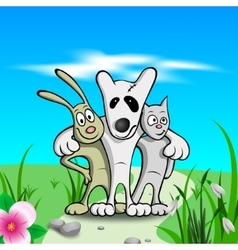 Three friends on grass vector