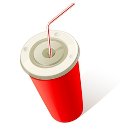 Red cold drink cup vector
