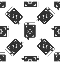 Jewish torah book icon pattern on white background vector