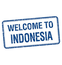 Welcome to indonesia blue grunge square stamp vector