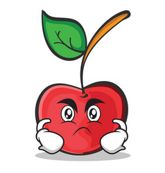 Angry face cherry character cartoon style vector