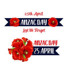 Anzac day 25 april poppy bunch icon vector