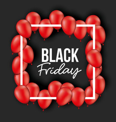 black friday poster with white frame with red vector image