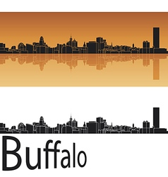 Buffalo skyline in orange background vector