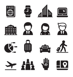 business trip travel meeting seminar icon set vector image vector image