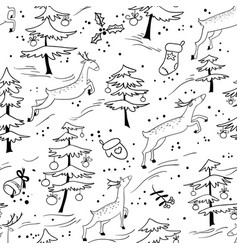 christmas seamless pattern with cute deers in vector image vector image