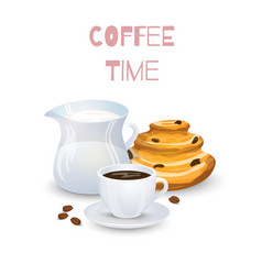 Coffee drink milk jug and bun vector