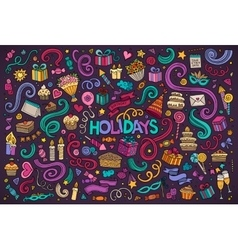 Colorful set of holidays object vector image vector image